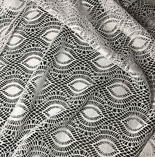 White Crochet LACE Fabric - Feather Eye 1/4 yard remnant