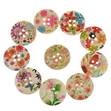 10pcs Assorted Floral 4-holes Wooden Buttons for Sewing Costume Craft 50mm