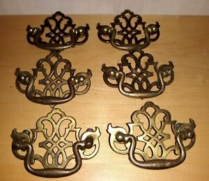 "6 Vintage Shabby Brass Batwing Ornate Drawer Pulls Handles 4""L  3"" W & 3"" Center"