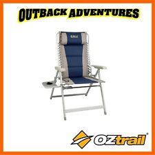 OZTRAIL KAKADU 8 POSITION JUMBO RECLINER CHAIR WITH SIDE TABLE