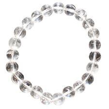 Premium CHARGED Amplifier (Clear) Quartz Crystal 8mm Bead Bracelet Stretchy
