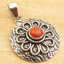 0.99 cent Auction !! ORANGE COPPER TURQUOISE Pendant 1.3 Inch 925 Silver Plated