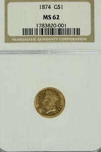 1874 $1 Gold  Indian Princess Head  : NGC MS62