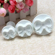 3X Bow Knot Plunger Cake Decorating Cookie Cutter Fondant Sugarcraft Icing Mold