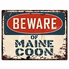 PP1540 Beware of MAIN COON Plate Rustic Chic Sign Home Store Decor Gift