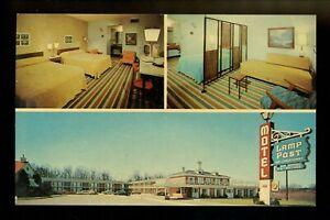 Motel Hotel Postcard Michigan MI Ann Arbor Lamp Post Motel interior