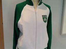 """Felpa irlandese, con cerniera, verde smeraldo e bianco, con lato pockets,l-xl (46 """"Petto"""