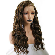 Anogol Dark Brown Curly Lace Front Wig Long Synthetic Hair Wigs For Women