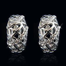 18k white Gold plated filigree huggie men women earrings with Swarovski elements