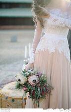New Bohemian Wedding Dresses  Spring A-Line Beach Chiffon Lace Bridal Gowns