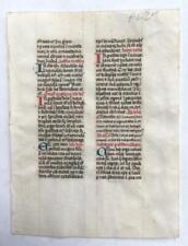 Medieval Illuminated Manuscript leaf - double-sided, double column
