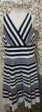 White House Black Market Size 14 Women's Sleeveless V Neck Striped Lined Dress