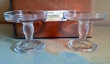 Longaberger Glass Pedestal Candle Stand / Holders (Set of 2 ) - New in Box