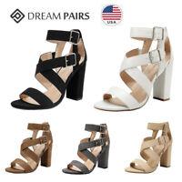 DREAM PAIRS Women Ankle Strap Open Toe High Block Heel Sandals Dress Pump Shoes