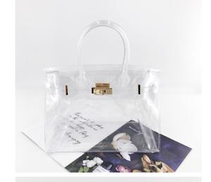 Women Jelly Transparent Laser Beach Bag PVC Ladies Tote Top Handle Handbag 30CM