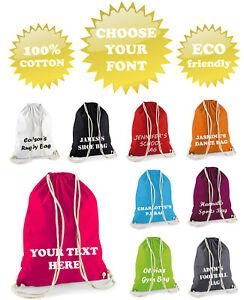 Cotton Personalised Drawstring Sports PE Gym Shoe School Bag Kid Gymsac Backpack
