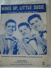 Vintage Sheet Music Wake Up, Little Susie  recorded by King Brothers