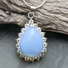Opalite And White Crystal Tear Drop Pendant On Silver Plated Snake Necklace
