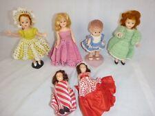 Lot of 6 Vtg 50s Dolls Knickerbocker Sleeping Eyes Mohair Crochet Dresses