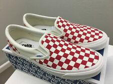 Vans Vault OG Classic Slip On Checker Checkerboard Red White Men's 10