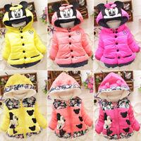 Toddler Kids Girl Cartoon Mickey Minnie Hooded Winter Warm Coat Jacket Tops 1-4Y