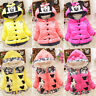 Minnie Mouse Baby Kid Girls Padded Hoodie Jacket Coat Winter Warm Casual Outwear