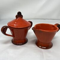 Vintage Ceramic Metlox Pottery Red Rooster Sugar Bowl With Lid And Creamer