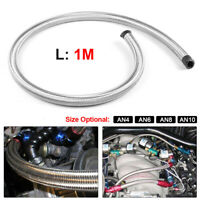 1pcs AN4 AN6 AN8 AN10 Stainless Steel Braided Fuel Line Oil Gas Hose Each 3.3FT