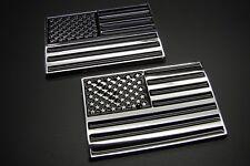 (2) AMERICAN FLAG 3D ABS EMBLEM DECAL STICKER LOGO FOR CARS BLACK CHROME FINISH