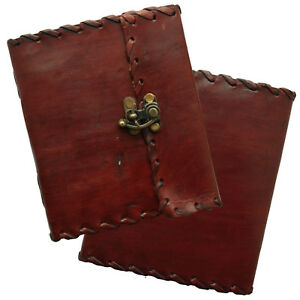 """2nd Quality 6"""" Real Leather Journal Sketchbook Diary Cartridge Paper Stitch Lock"""