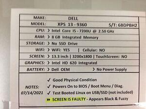 Dell XPS 13-9360 *Parts/Repair* i5/8GB/BATT - No OS/HDD/CHRG