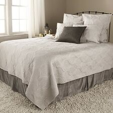 ARHAUS Queen 3pc VOGUE Quilt & Shams LUXURY Bedding Set TAUPE Cotton Silk NWT