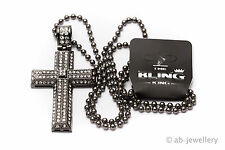 Hip Hop Bling Iced Out Croce pendente a Nero Con Catena Collana XXL GANGSTER