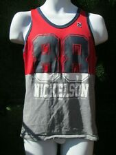 Nickelson,Grey/Red/Blue, C - Neck, Sleeveless,Sports,Vest  T-Shirt Size X small