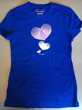 Reebok Ladies Blue Graphic Hearts T-shirt Size S  Sports Gym Dance Fitted Top