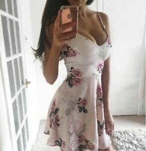 Lipsy Floral Skater Cami Dress 14 Pink Layered Fit Flare Ariana Cocktail Party