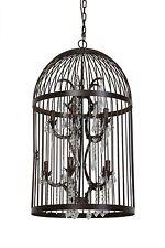 Lustre pillenore Cage pour oiseaux rouille marron 10 à flammes Lampe plafonnier