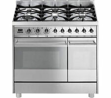 SMEG C92DX8 6 Burner Dual Fuel Range Cooker Grill Stainless Steel 90cm