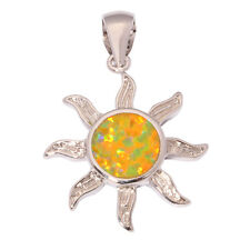 "Sun Yellow Fire Opal Women Jewelry Gemstone Silver Pendant 1 1/8"" OD5512"
