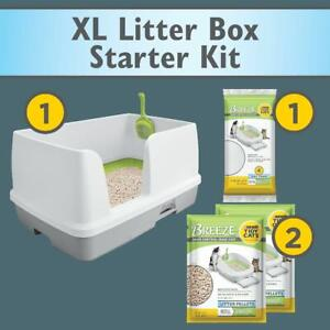 Multi Cat Box Tidy Cats Non Clumping Litter System Breeze XL All-in-One Odor