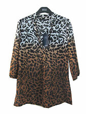 Marks & Spencer marrón estampado leopardo Túnica Caftán Top Talla 10 con joyas