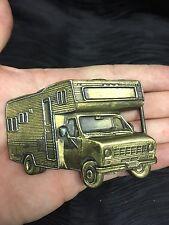 Vtg RV Camper Motor Home Belt Buckle Ford C Motor Coach Truck Hipster