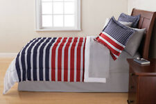 Red White Blue Grey Striped 8 Piece Reversible Comforter Bedding Set Full Size
