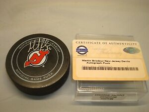 Martin Brodeur Signed New Jersey Devils Official Game Hockey Puck Steiner COA 1A