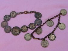 Vintage WWII 1945 Silver Occ Philippine US Coin Trench Art Bracelet 20s 3 Pence