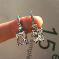 Charm Cushion Cut Cubic Zircon Dangle Earrings Crystal CZ Drop Women Jewelry New