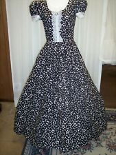 Victorian Day Gown Of White Leaf Pattern On Black, Batterberg Lace Trim