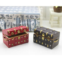 Treasure chest vintage leather case wooden miniature dollhouse accessory WG