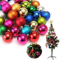 40Pcs Christmas Tree Baubles Mixed Xmas Decor Shatterproof Ball Glitter 60mm