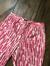 Michael Kors Dress Pants Christmas Pink Red Stripes • Italy • Size 4